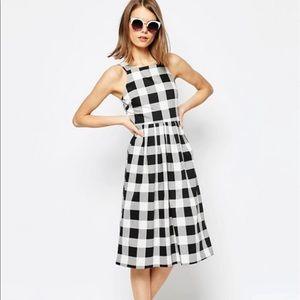 ASOS Structured Midi Dress in Gingham Print